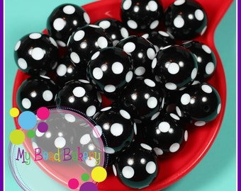 3 Pieces 24mm Black Polka Dot Indented Retro Style Round Acrylic Beads Chunky Bead Neckalces and Bracelets DIY Crafts