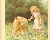 Edwardian 1900s Ernest Nister  Antique Childrens Print  Blonde Haired Girl Feeding Flower To A Lamb In Field Vintage Bookplate