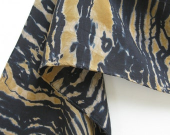 Pea Green and Deep Navy Stone Shibori on Silk Crepe Scarf