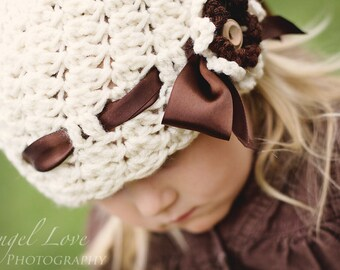 Hat Crochet PATTERN - Cluster Stitch Hat - 5 sizes included, PDF instant download winter hat girl beanie toddler crochet flower