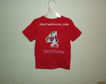Personalized Red Birthday Applique Number Tee