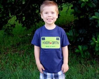 Navy Blue Lime Green Tag/License Shirt