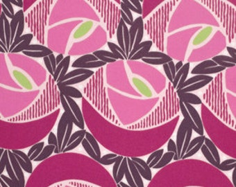 00442 - Annette Tatum Classica Sateen Flora in berry color - Home Dec fabric  - 1 yard