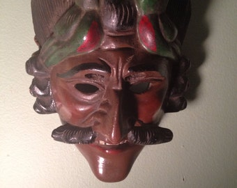 Vintage Tecun Uman Carved wood Guatemalan Mayan Indian dance mask wallhanging