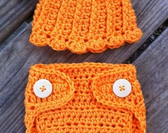 Newborn Girl or Boy Crochet Halloween PUMPKIN Beanie Hat n Diaper Cover Set with Optional JACK o LANTERN Face on Back - Cute Photo Prop