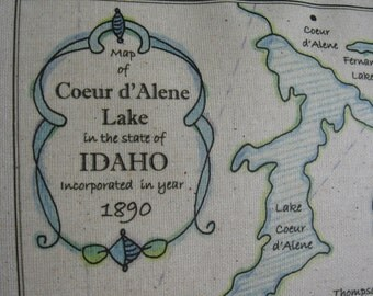 Coeur d'Alene, Idaho, Coastal, Vintage Map Pillow, Lake Pillow, Blue Pillows, Nautical, Beach Decor, Cabin, Lake House, Abundant Haven, Maps
