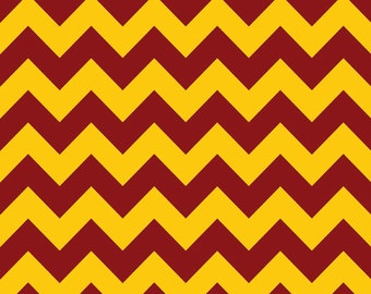 1/2 yard LAMINATED cotton fabric (similar to oilcloth) 18 x 40 - Maroon burgundy Gold team chevron - Approved for children's products