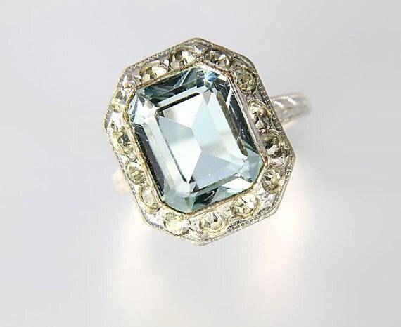 Art Deco Aquamarine Uncas Ring Silver Filled Antique Jewelry