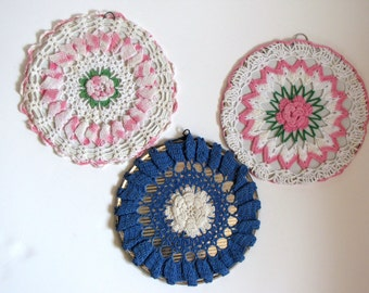 Vintage Crocheted Round Blue and Pink Wall Hanging Set of Three