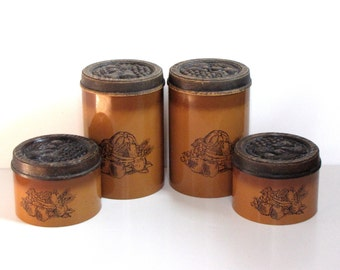 Vintage Brown Orange Canisters - Set of Four  - fruit and vegetable design