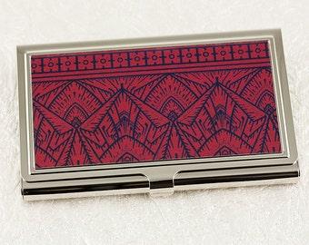 Art Deco Business Card Case, Crimson Red and Black Geometric Deign, Credit Card Case