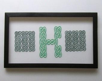 MONOGRAM of Eternity Celtic Knots Letters . ENGAGEMENT Gift Custom Order, Silhouette Papercut, Wall Art Home Decor. Handmade, Handcut. OOaK