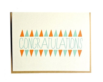 Congratulations card, wedding, engagement, graduation, original hand drawn illustration card