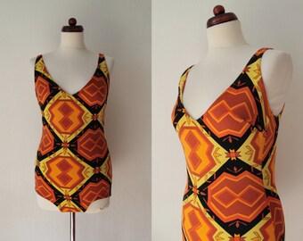 Vintage Swimsuit - Mod Bathing Suit - Bombshell Mustard, Orange & Black Swimsuit - 1960's Bathing Suit - Size L