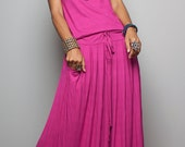 Maxi Dress -  Sleeveless Fuchsia dress : Autumn Thrills Collection No.9s