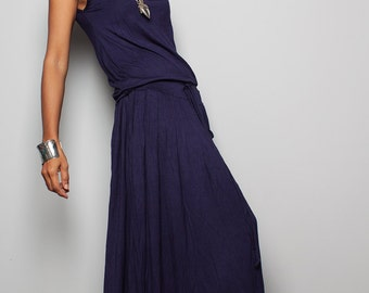 Navy Blue Maxi Dress -  Sleeveless dress : Autumn Thrills Collection No.9s