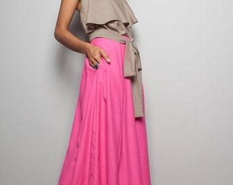 Pink Skirt / Floor Length Skirt - Long Cotton Maxi Skirt : Feel Good Collection no.3