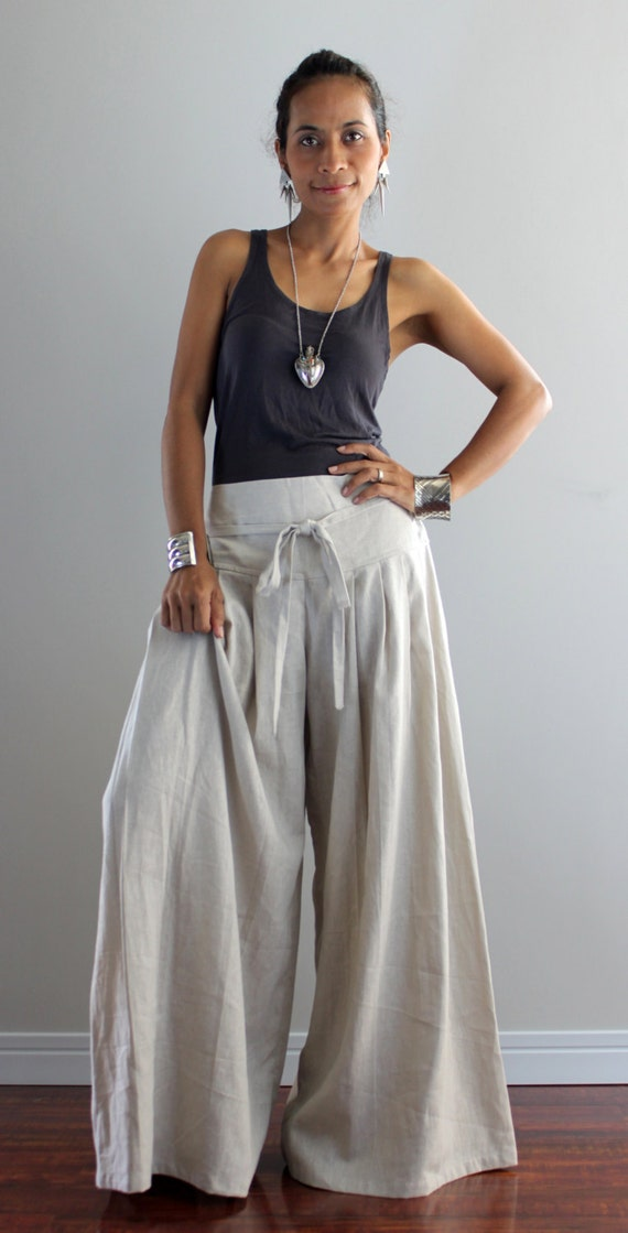 Wide Leg Pants Cotton Linen Casual Wear : Soul of the Orient