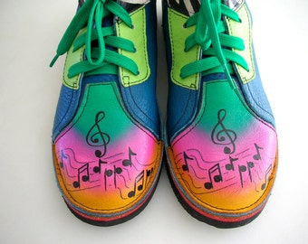 Womens Hand Painted Boots OOAK Musical Notes Soletech Leather Shoes Laceup Zebra print from The Back part of the Basement
