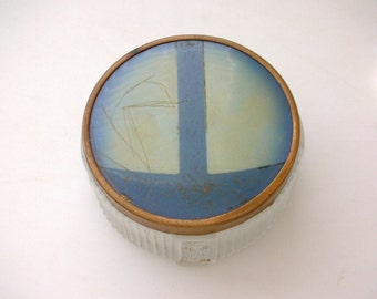 Art Deco Frosted Glass Vanity Jar-Fluted Glass Footed Dresser Box from The Back part of the Basement