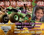 Monster Jam Grave Digger Birthday Invitation