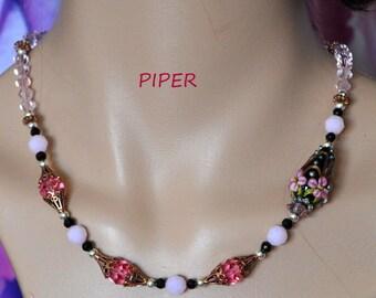 Necklace,Lampwork,Beaded Necklace,Beadwork Necklace,Floral Necklace,Pink and Black Necklace - PIPER