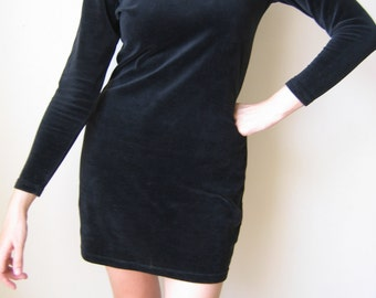 Black velvet full sleeved mini-dress, 30% OFF
