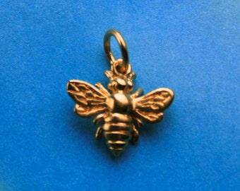 Gold Vermeil Honeybee Bumblebee Charm Pendant, 11x10mm, 1 piece