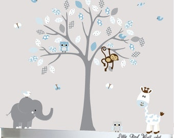 Childrens gray tree wall decal jungle nursery set blue and grey