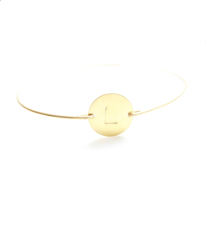 Personalized Bracelet, Monogram Bracelet,  Round Initial Bangle, Initial Jewelry, Personalized Jewelry, Initial Monogram Bracelet, ID