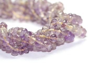 Ametrine Hand Faceted Rondelles Full Strand Purple Golden Yellow Brazilian Semi Precious Gemstone