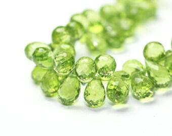 Peridot Micro Faceted Teardrop Briolettes 4 Kiwi Grass Green Semi Precious Gemstone color
