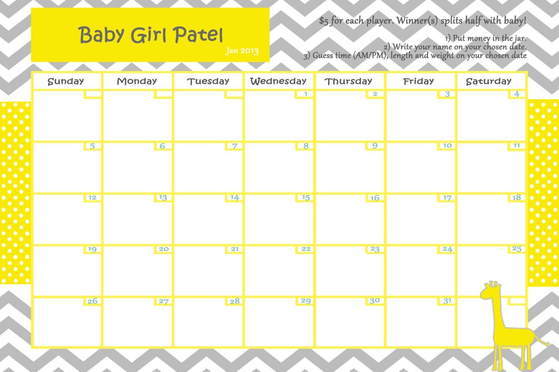 Customize Baby Calendar for Baby Shower Pool Game Giraffe