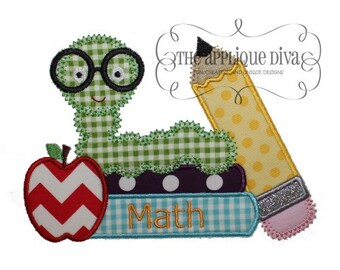 Back to School Bookworm Embroidery Design Machine Applique