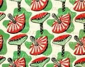 Mushrooms Red and Green Mid Century Background - Digital image - Vintage Art Illustration