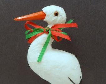 Sale Spun Cotton Stork Figure Ornament 7 Inches Baby Shower Vintage 1980s