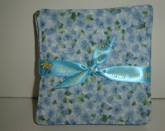 Little blue violets/forget-me-knot flowers on fabric coasters, country blue, set of 4, reversible, cottage chic/country, mug rug, under 10