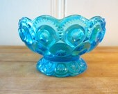A Vintage Aqua Moon and Stars Candy Dish