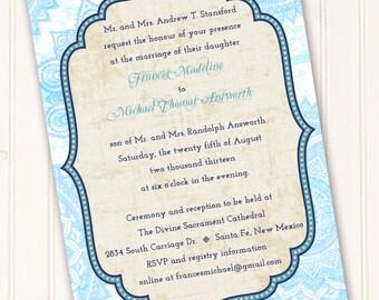 wedding invitations, Moroccan invitations, Moroccan wedding invitations, turquoise wedding invitations, graduation invitations, IN213