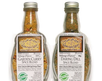 Couplet of Eco Artisan Spice Blends Gift Set - Gluten Free Dairy Free Food Market  BBQ Grill Spice - Pasta Sauce Mix