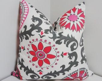Fushia Pink/Grey Suzani  Print Pillow Covers Throw Pillow Covers Size 18x18