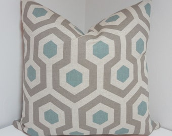 Decorative Pillow Cover Taupe Blue Geometric Honeycomb Pillow Covers All Sizes