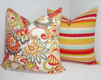 OUTDOOR Deck Patio Pillow Cover Stripe & Floral Set Red Blue Orange Green Striped Outdoor Pillow Cover 18x18