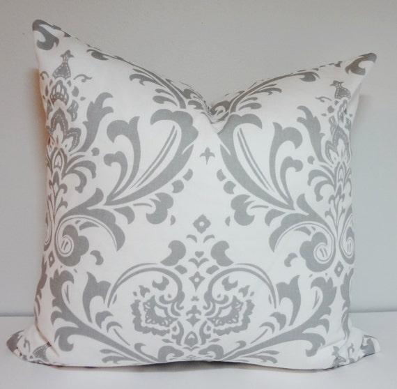 decorative pillow grey white damask pillow cover by homeliving. Black Bedroom Furniture Sets. Home Design Ideas