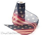 "Wired Ribbon 9"" American Flag Sheer Red, Ivory and Blue, TEN YARD ROLL,  ""Old Glory"" Tea Stained Stars and Stripes Garland Wire Edged"