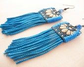 Vivid fringe earrings - bright blue textile fringe earrings - fabric statement earrings