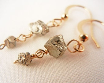 Tiny raw pyrite drop earrings - simple rough stone and gold earrings - gold pyrite jewelry.