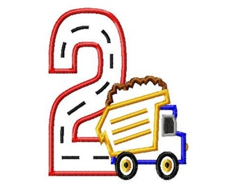 Dump Truck - 2 - Applique - Machine Embroidery Design -  5 sizes