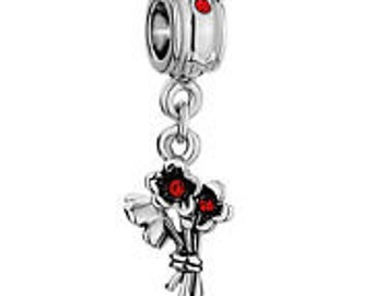 BOUQUET OF FloWERS CHARM Silver Plated  Metal Spacer Beads Fit  European Charm Bracelet