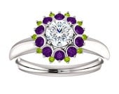 "Reserved  Diamond, Amethyst, and Peridot Ring in 14k White Gold Custom Design ""Push Present"" GIA 1/2ct VS2 G Diamond"